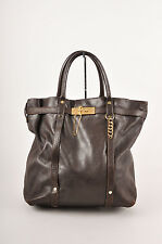 "Lanvin Dark Brown/Gold-Tone Hardware Large Leather ""Kansas"" Tote Bag"
