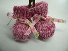abc broons chausson bébé rose fushia  modele unique neuf layette tricot m17