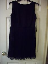 F&F Ladies Black Elegant Chiffon Pleated Skirt Eve Dress Lined 37'' Long sz 14