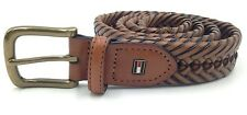 $202 TOMMY HILFIGER Men's BROWN BRAIDED LEATHER CASUAL BUCKLE DRESS BELT SIZE 38