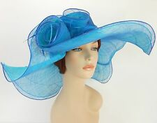 New Church Derby Wedding Party Sinamay 2 Layers Dress Hat 1765 Royal Blue / Turq