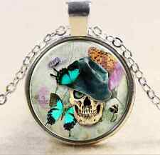 Vintage Skull Cabochon Tibetan silver Glass Chain Pendant Necklace NEW A1