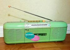 VTG SHARP QT-50 LIME STEREO AM FM RADIO CASSETTE TAPE PLAYER RECORDER BOOMBOX!!!