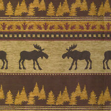 MOOSE TREES LEAVES UPHOLSTERY FABRIC LODGE GOLDEN CHENILLE RUSTIC WILDLIFE