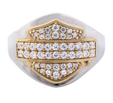 Harley Womens .925 Silver Bling B&S Gold Plated with CZ Stones  Band Ring (7)