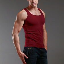 M - Wine Red Men's Plain T-Shirts Tank Top Muscle Camo Sleeveless Cotton Tee