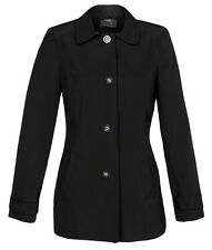 New Womens Ladies gorgeous black belted collard trench mac jacket size 8