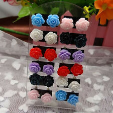 12 Pairs Resin Flower Ear Stud Jewelry Mixed Lots Stud Earrings Display TOOOOOP