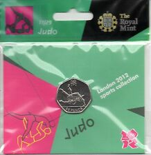 2012 50p OLYMPIC 17/29 JUDO COIN HANGING BAG BRILLIANTLY UNCIRCULATED !
