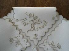 Vintage Madeira Hot Biscuits Ecru Embroidered Linen Bun Warmer Doily Rolls