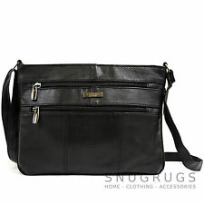 Ladies Soft Nappa Leather Shoulder / Cross Body Bag with Multiple Pockets