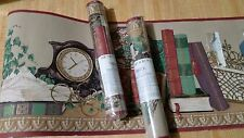 Book shelf Wall paper Border Victorian library Tiffany lamp spectacles clock