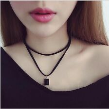 Rock geometric faux leather strip Collar Necklace Jewelry Short Necklaces