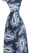 "Men's BRIONI Navy Blue Purple Paisley Extrafine Woven Silk 3.5"" Neck Tie NWT!"