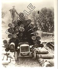Early 1920s GMC LOGGING TRUCK w/Huge Load of Small Logs, 8x10 GLOSSY B&W PHOTO