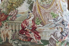 Antique Petit Point Embroidered Purse Handbag Jewelled Frame 2 Scenes WOW!