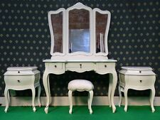 BESPOKE White Five piece Rococo Bedroom french wood set Dressing table, bedside