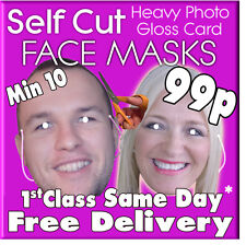 CHEAP personalizzata foto FACE MASK KIT FESTA DI COMPLEANNO Fancy Dress Stag Hen minimo 10