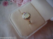 Antique Vintage 9ct Gold Opal Ring with Rubies and Diamond size 10 or U