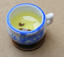 1:12 White Ceramic Chamber Pot + Blue Motif Needs Emptying Dolls House Miniature