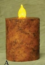 "Primitive Decor Burnt Mustard Bat. Pillar Candle, 2""x3"", Wax Dipped, 6 Hr Timer"