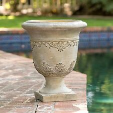 "20"" Tall Aged Roman Design Outdoor Garden Antique Green Urn Planter Flowers Pot"