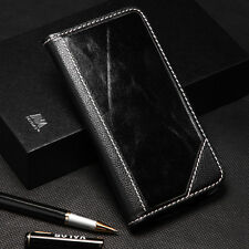 For Samsung Galaxy Note 5 Real Genuine Leather Flip Wallet Case Cover Black Lux