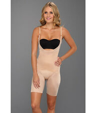 SPANX SKINNY BRITCHES SUPER OPEN BUST MID THIGH BODYSUIT NUDE #1909 MEDIUM $88