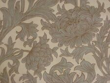 "WILLIAM MORRIS CURTAIN FABRIC  ""Chrysanthemum Toile"" 3.45 METRES SLATE/CREAM"