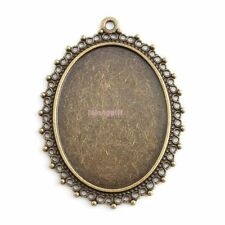 6x 143642 Charm Oval Lace Blank Frame Antique Bronze Alloy Pendant Fit Necklace