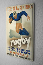 Tin Sign Retro Deco  Rugby player ball