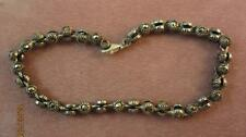 "VINTAGE FANCY STERLING SILVER & MARCASITE RIBBED ""BALL"" LINK BRACELET"