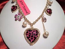 Betsey Johnson womens pink leopard heart pearl bow necklace adj 22-26 inch