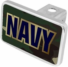 NAVY Blue & Gold word on Black Back/ Big Heavy Aluminum Trailer Hitch Cover