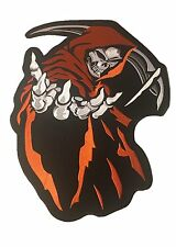"Grim Reaper Angle of Death Motorcycle Biker Patch Iron-on Large 14"" x 11"" Orange"