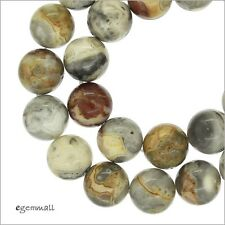 """Crazy Lace Agate Round Beads 12mm 7.6"""" #54120"""