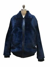 WINTER BLUE SHEARED SHEARLING MOUTON REAL FUR COAT JACKET, LEATHER TRIMMING, XL