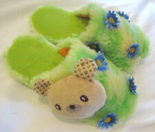 BEAR GREEN CRAZY FUN FLOWER DAISY NOVELTY XMAS FESTIVE KAWAII SLIPPERS 39 / 6