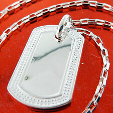 A238 GENUINE REAL 925 STERLING SILVER S/F SOLID CLASSIC DOG TAG NECKLACE CHAIN