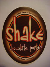 Beer STICKER ~ BOULDER Beer Co Shake Chocolate Porter ~ COLORADO ~^~ Opened 1979