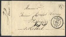 """FRANCE 1851 GIVET TO RETHEL IN N. FRANCE W/""""25¢"""" PAID FOR MAILING NEAT MARKINGS"""