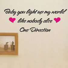 ONE DIRECTION BABY YOU LIGHT UP World Vinyl Decal wall quote sticker Inspiration