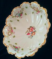 STUNNING HAVILAND LIMOGES #72 LG FOOTED SERVING BOWL ROSES DOUBLE GOLD *MINT