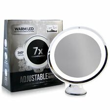 7x Magnifying Lighted Makeup Mirror LED by Upper West Collection Makeup-Suction