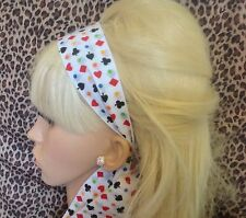 WHITE POKER CARD CASINO PRINT RETRO FABRIC HEADBAND HAIR SCARF SELF TIE BOW