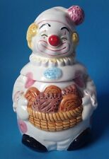 Clown Holding Basket Ceramic Cookie Jar Pink Polka Dot 10""