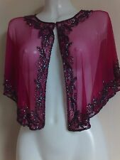 NEW TOP FUSHIA SEQUIN PONCHO  SHRUG TOPS WEDDING  NIGHT PARTY  BOLERO STUNNING