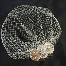 Vintage Crystal Birdcage Veil and Comb , Bridal Comb ,Crystal Veil and ivory UK