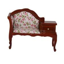Dolls House Miniature Floral Upholstered Victorian Telephone Seat with Table