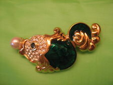 NOLAN MILLER Large FISH BROOCH Green & Gold Tone rhinestone pave faux pearl